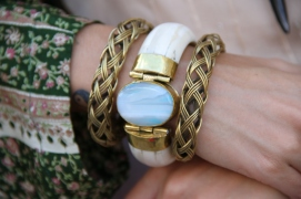 Hand forged brass bangles with bone and agate