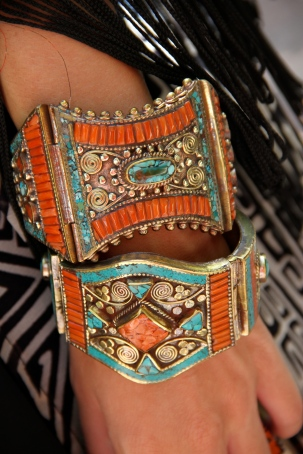 This Nelpalese work is incredible, inlaid coral and turquoise