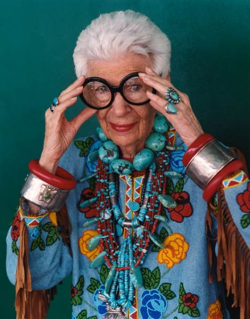 Iris Apfel, wears our jewelry and loves our cause