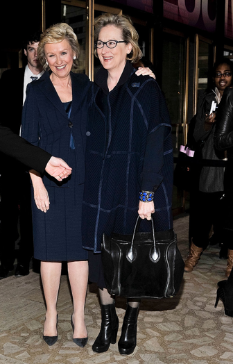 Tina Brown and Meryl Streep, WITW 2013. (If you look on Meryl's hand you will see our lapis cuff.)